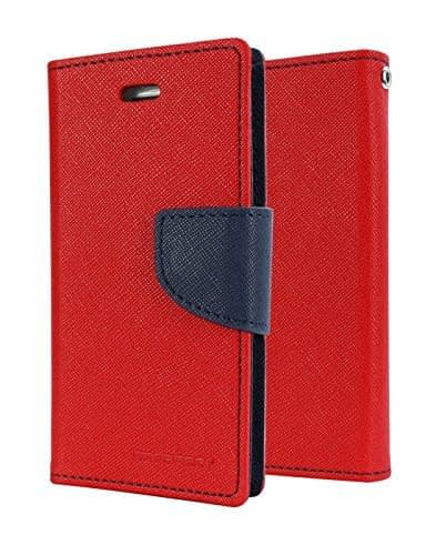 DW Mercury Fancy Diary CARD Wallet Flip Case Back Cover for Samsung Galaxy S6 Edge ( Red ) 1