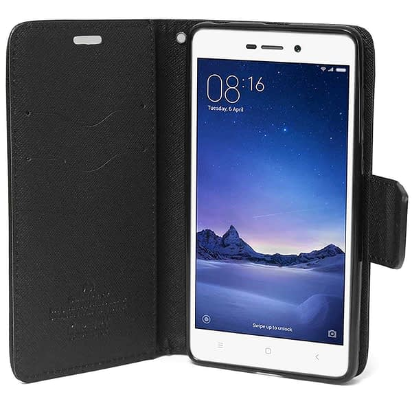 Mercury ( For Xiaomi Redmi 3S Prime ) Goospery Fancy Diary CARD Wallet Flip Case Back Cover for Xiaomi Redmi 3S Prime with Finger Print Cut - Black 5