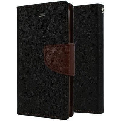 J.N. Mercury Fancy Diary Card Wallet Flip Case Back Cover For Micromax Canvas 2 A110 - Black and brown 1