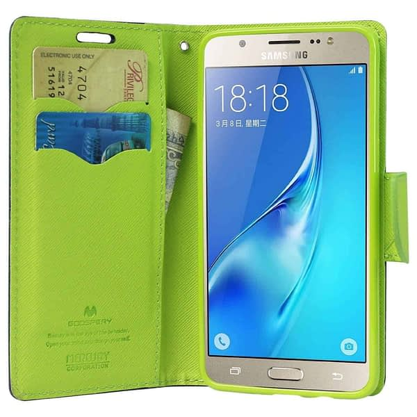 Mercury ( for Samsung Galaxy J7 Prime ) Goospery Fancy Diary CARD Wallet Flip Case Back Cover for Samsung Galaxy J7 Prime - ( Blue + Green ) 3