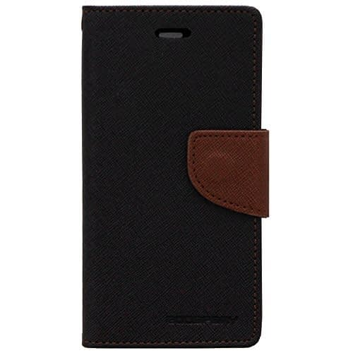 Cubezap Mercury Goospery Fancy Diary Card Wallet Flip Case Back Cover for Micromax Yu Yureka AQ5510 - Brown Black with Lock 1