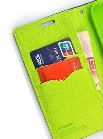 Mercury ( for Samsung Galaxy J7 Prime ) Goospery Fancy Diary CARD Wallet Flip Case Back Cover for Samsung Galaxy J7 Prime - ( Blue + Green ) 5