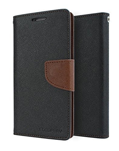 DW Mercury Fancy Diary CARD Wallet Flip Case Back Cover for Samsung Galaxy J2 - Black+Brown 1