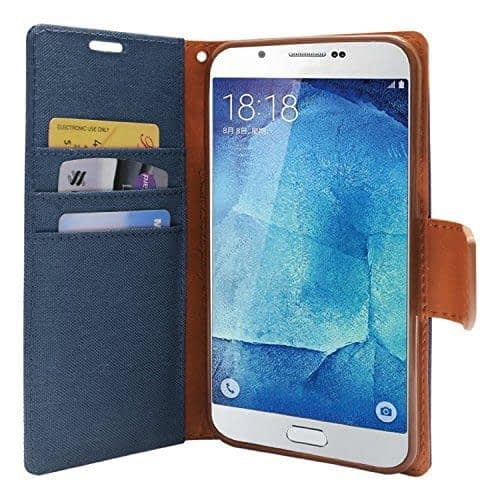 DW Canvas Dairy Mercury Fancy Diary CARD Wallet Flip Case Back Cover for Samsung Galaxy Grand Prime G530H ( Pebble Blue ) 1