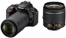 Nikon D5600 DSLR Camera Body with Dual Lens: AF-P DX Nikkor 18 – 55 MM F/3.5-5.6G VR and 70-300 MM F/4.5-6.3G ED VR (16 GB SD Card) Nikon
