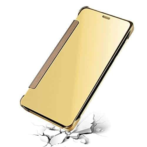 Royal Star Luxury Clear View Mirror Flip Smart Cover Case for (Samsung  Galaxy S6 Edge, Golden)