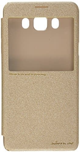 Nillkin Sparkle Series Window ( Without Sensor ) Leather Flip Case Cover for Samsung J7 (6) 2016 ( Gold Color ) 1