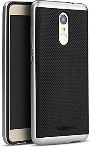 Krish Ipaky Ultra Thin Dotted Silicon Black Back + Pc Silver Frame Back Case Cover For Xiaomi Redmi Note 3 , Silver 1