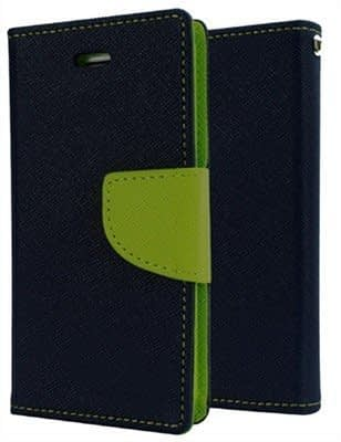 J.N. Mercury Fancy Diary Card Wallet Flip Case Back Cover For Micromax Canvas 2 Colors A120 - Blue Green 1