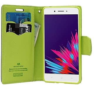 separation shoes e58fc 7c934 Royal Star Mercury Goospery Fancy Diary CARD Wallet Flip Case Back Cover  for Oppo F1S - Blue+Green