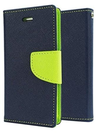DW Mercury Fancy Diary CARD Wallet Flip Case Back Cover for Lenovo Vibe P1M ( Blue+Green ) 1