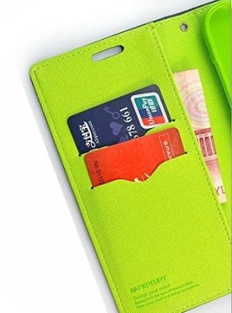 J.N. Mercury Fancy Diary Card Wallet Flip Case Back Cover For Micromax Canvas 2 Colors A120 - Blue Green 3