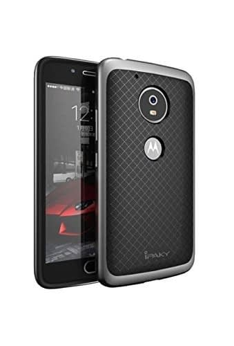 iPaky Ultra Slim Fit Dual Layer Soft TPU + Hard PC Hybrid Bumper Back Case Cover Protective Skin For Moto G5 Plus ( Grey Bumper + Black Back ) 1