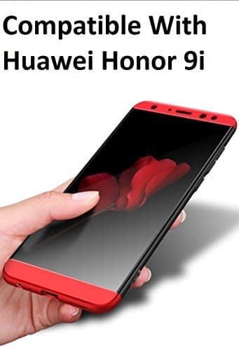 Royal Star Luxury Design Full Body 3-in-1 Slim Fit Complete 360 Degree Protection Hybrid Matte Finish Hard Bumper Back Cover Case for Huawei Honor 9i (Black Red) 1