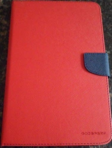 """Mercury Goospery Fancy Folding Flip Folio PU Leather with 4 card slot Stand Case Cover for Samsung Galaxy Tab E 9.6"""" T560 T561 Android Tablet - Red 1"""
