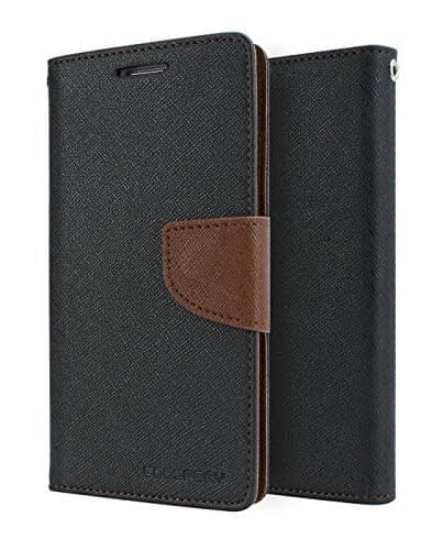 Mercury Fancy Diary CARD Wallet Flip Case Back Cover for Samsung Galaxy J7 ( 2016 Edition ) - Black+Brown 1