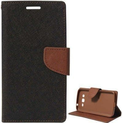 J.N. Mercury Fancy Diary Wallet Flip Case Back Cover for Samsung Galaxy ON7 - Black Brown 1