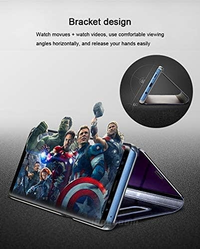 Royal Star Luxury Smart Semi Clear View Electroplate Plating Mirror Acrylic Full Body Protective (Inner Soft TPU) Stand Flip Back Case Cover for (Samsung Galaxy S8 Plus, Blue) 7