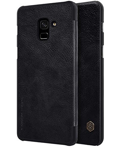 Nillkin Qin Series Royal Leather Flip Case Cover for Samsung Galaxy A8 Plus (2018) (BLACK) 4
