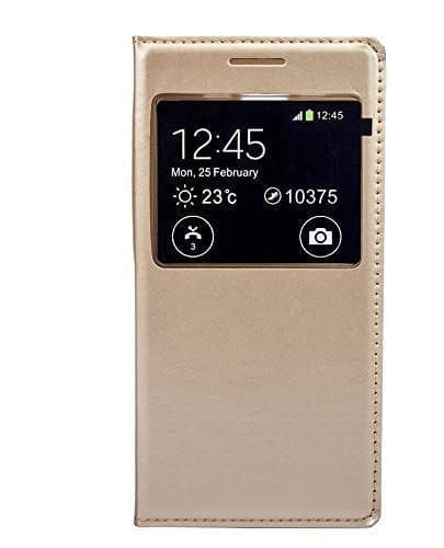 Royal Star ( TM ) Window Leather FLIP COVER CASE for SAMSUNG GALAXY J2 2016 Edition ( Gold ) ( Without Sensor ) 1