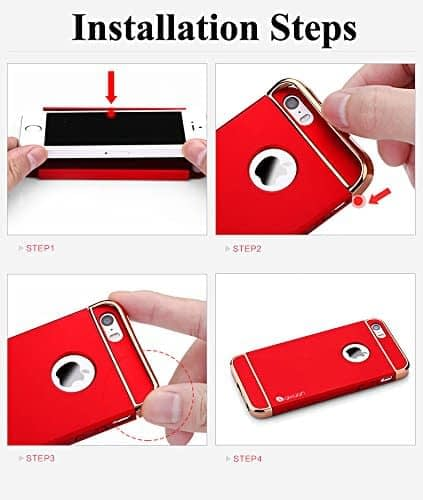 iPaky Chrome 3 Piece Hybrid Protective Back Case Cover for Apple iPhone 6 Plus / 6S Plus - Red 5