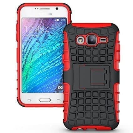 DW Kick Stand Spider Hard Dual Rugged Armor Hybrid Bumper Back Case Cover For Samsung Galaxy J5 Dual Sim - Red 1