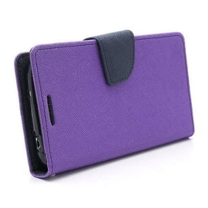 J.N. Mercury Fancy Diary Card Wallet Flip Case Back Cover For Micromax Canvas 2 Colors A120 - Purple 3