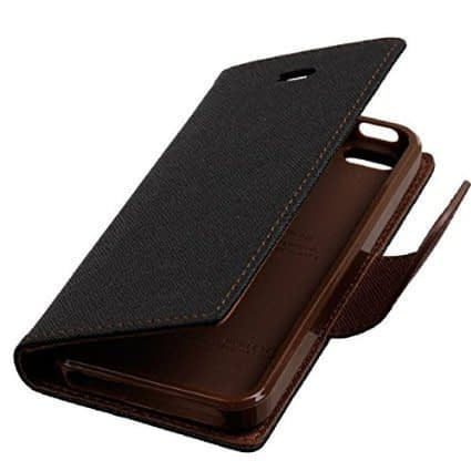 J.N. Mercury Fancy Diary Wallet Flip Case Back Cover for Lenovo A7000 - Black Brown 1