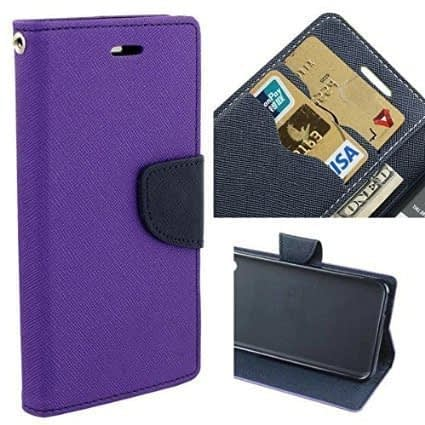 Royal Star Full Protection Fancy Diary Card Wallet Stand View Flip Case Back Cover for (Micromax Canvas Sliver 5 Q450, Purple) 3