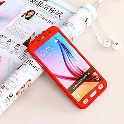 Royal Star(TM) 360 DEGREE FULL BODY PROTECTION Front + Back Cover Case with Tempered Glass For SAMSUNG GALAXY J7 ( Red ) 1