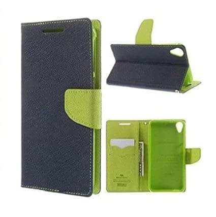 J.N. Mercury Fancy Diary Wallet Flip Case Back Cover for Micromax Canvas Selfie Lens Q345 - Blue Green 1