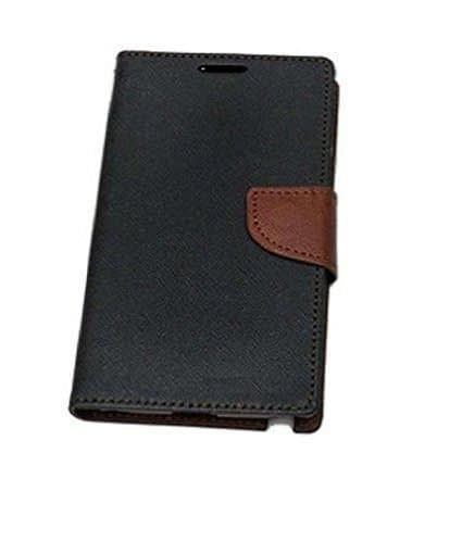 J.N. Mercury Fancy Diary Card Wallet Flip Case Back Cover For Micromax Canvas 2 Colors A120 - Black and brown 4