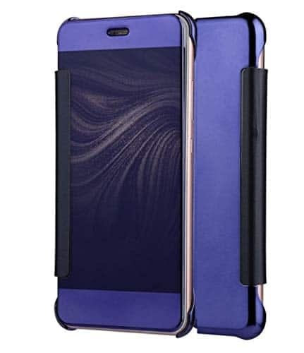 Royal Star Luxury Clear View Mirror Flip Smart Cover Case for (Samsung Galaxy S8, Dark Blue) 1