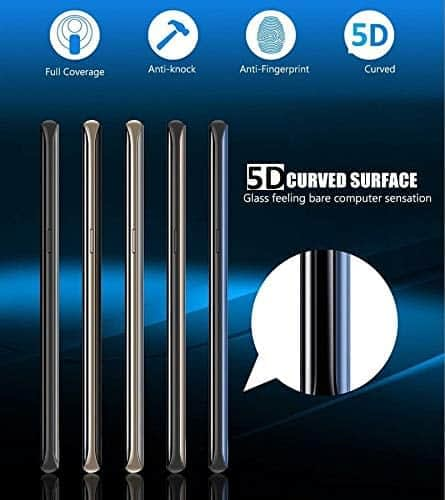 Royal Star 5D Curved 9H Full Cover Back Side Tempered Glass Protector Guard for (Samsung Galaxy S9, Black) 5