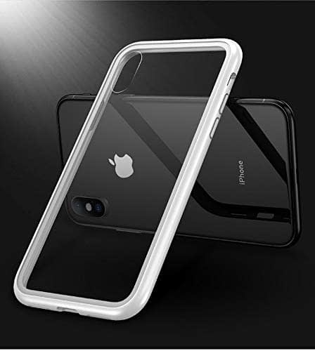 "Royal Star Luxury Slim Magnetic Flip with Metal Frame & Back Side Transparent Tempered Glass Back, Built-in Powerful Magnet Flip Back Cover Case for (Apple iPhone Xs Max (6.5""), Silver) 8"