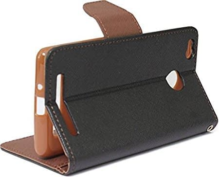 Mercury Goospery Wallet Flip Cover for Xiaomi Redmi 3S Prime (Black and Brown) 3
