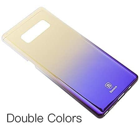 Baseus Glaze Colorful Case Ultra Thin Anti-Scratch Shockproof Double Colors Hard Plastic PC Protective Back Cover Case for Samsung Galaxy (Samsung Galaxy Note 8, Black/Purple) 1