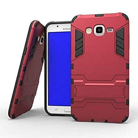 Royal Star Graphic Kickstand Hard Dual Rugged Armor Hybrid Bumper Back Cover Case for (Samsung Galaxy J2 (2015 Model), Red) 1