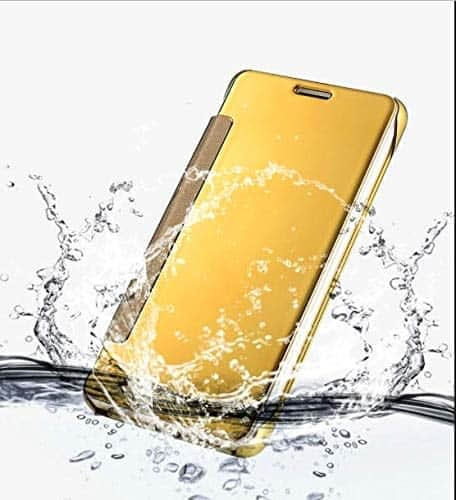 Royal Star Luxury Clear View Mirror Flip Smart Cover Case for (Samsung Galaxy J7 (6) 2016 Model, Golden) 4