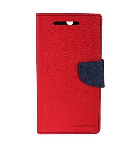 Imported Stylish Mercury Goospery Wallet Flip Case Cover Made For Samsung Galaxy E7-Red With Nevy Blue Flip 1