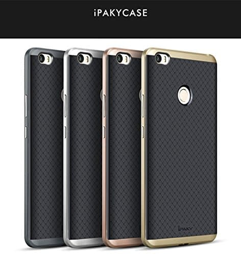 Ntron iPaky Brand Luxury Ultra-Thin Dotted Silicon Back + PC Gold Frame Bumper Back Case Cover for Xiaomi Mi Max - GOLD 9