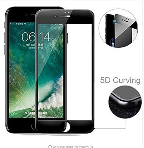 "Royal Star 5D Curved 9H Full Coverage Edge to Edge Screen Tempered Glass Screen Guard for Apple iPhone 7 / iPhone 8 (4.7"") - Black Color 1"