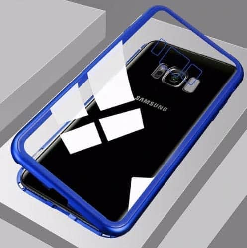 Royal Star Luxury Slim Magnetic Flip with Metal Frame & Back Side Transparent Tempered Glass Back, Built-in Powerful Magnet Flip Back Cover Case for (Samsung Galaxy S8 Plus, Blue) 4