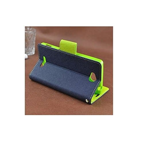 Cubezap Mercury Goospery Fancy Diary Card Wallet Flip Case Back Cover for Sony Xperia C Experia S39H - Green Blue 4