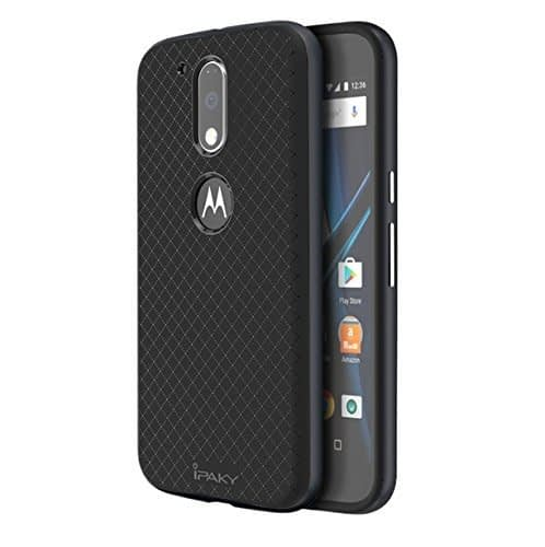 Original iPaky Brand Luxury High Quality Ultra-Thin Silicon inner Black Back + PC Grey Frame Bumper Back Cover For Motorola Moto G Plus 4th Gen -Grey 1