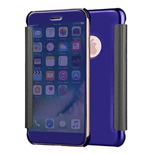 Royal Star Luxury Clear View Mirror Flip Cover Back Case for (Apple iPhone 7, Dark Blue) 1
