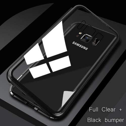 Royal Star Luxury Slim Magnetic Flip with Metal Frame & Back Side Transparent Tempered Glass Back, Built-in Powerful Magnet Flip Back Cover Case for (Samsung Galaxy S8 Plus, Black) 7