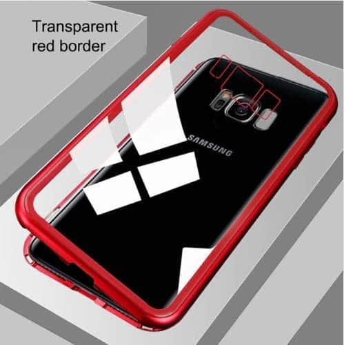 Royal Star Luxury Slim Magnetic Flip with Metal Frame & Back Side Transparent Tempered Glass Back, Built-in Powerful Magnet Flip Back Cover Case for (Samsung Galaxy S8 Plus, Red) 4