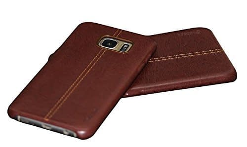 Vorson Pu Leather Case Shock Resistance Protective Back Cover Case for (Samsung Galaxy S7 Edge (Vorson Back Cover), Brown) 3