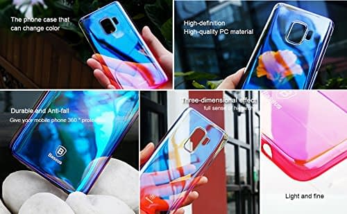 Baseus Glaze Colorful Case Ultra Thin Anti-Scratch Shockproof Double Colors Hard Plastic PC Protective Back Cover Case for Samsung Galaxy (Samsung Galaxy S9 Plus, Blue) 6